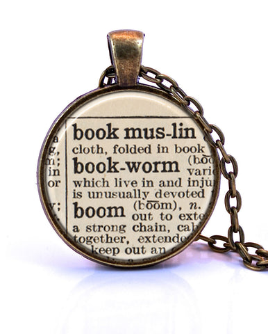Bookworm Dictionary Pendant Necklace-Small Pendant-Paper Towns Vintage