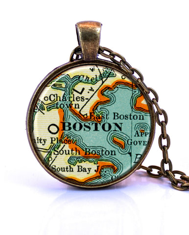 Boston, Massachusetts Map Pendant Necklace - created from a 1937 map.-Small Pendant-Paper Towns Vintage