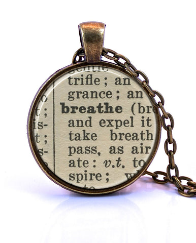 Breathe Dictionary Pendant Necklace-Small Pendant-Paper Towns Vintage