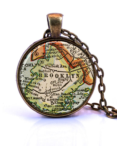 Brooklyn, New York Map Pendant Necklace - created from a 1927 map.-Small Pendant-Paper Towns Vintage