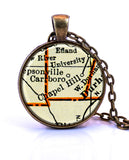 Chapel Hill, North Carolina Map Pendant Necklace - created from a 1937 map.-Small Pendant-Paper Towns Vintage