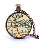 Charleston, West Virginia Map Pendant Necklace - created from a 1937 map.-Small Pendant-Paper Towns Vintage