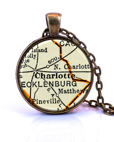 Charlotte, North Carolina Map Pendant Necklace - created from a 1937 map.-Small Pendant-Paper Towns Vintage