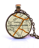 Charlottesville, Virginia Map Pendant Necklace - created from a 1937 map.-Small Pendant-Paper Towns Vintage