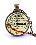 Cincinnati, Ohio Map Pendant Necklace - created from a 1937 map.-Small Pendant-Paper Towns Vintage