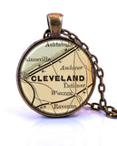 Cleveland, Ohio Map Pendant Necklace - created from an 1880 map.-Small Pendant-Paper Towns Vintage