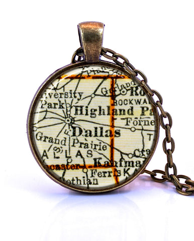 Dallas, Texas Map Pendant Necklace - created from a 1937 map.-Small Pendant-Paper Towns Vintage