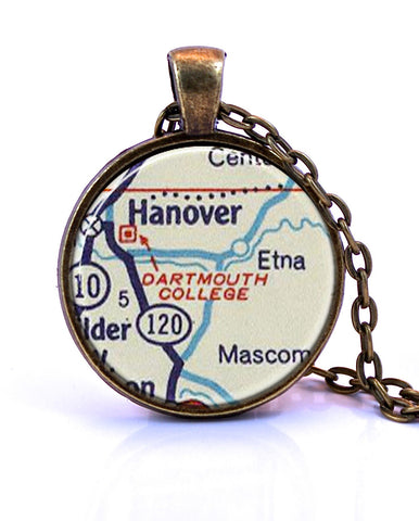 New hampshire pendants tagged show retail paper towns vintage dartmouth college map pendant necklace created from a 1956 map small pendant mozeypictures Image collections
