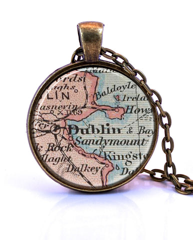 Dublin, Ireland Map Pendant Necklace - created from a 1909 map.-Small Pendant-Paper Towns Vintage