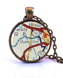 Duke University, North Carolina Map Pendant Necklace - created from a 1956 map.-Small Pendant-Paper Towns Vintage