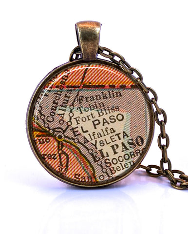 El Paso, Texas Map Pendant Necklace - created from a 1927 map.-Small Pendant-Paper Towns Vintage