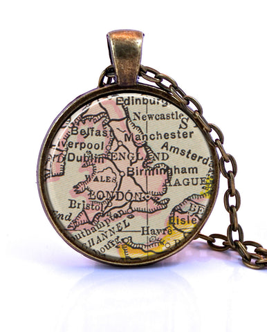 England Map Pendant Necklace - created from a 1909 map.-Small Pendant-Paper Towns Vintage