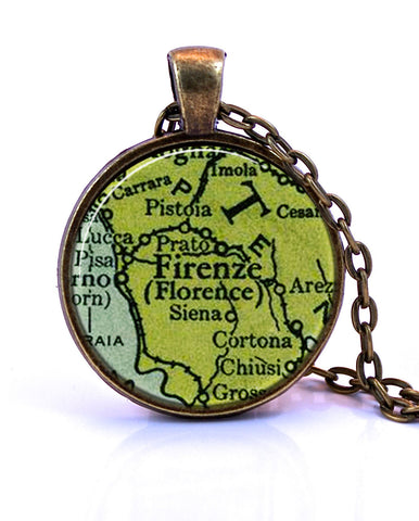 Florence, Italy Map Pendant Necklace - created from a 1943 map.-Small Pendant-Paper Towns Vintage