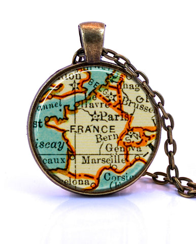 France Map Pendant Necklace - created from a 1937 map.-Small Pendant-Paper Towns Vintage