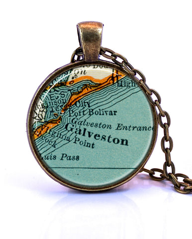 Galveston, Texas Map Pendant Necklace - created from a 1937 map.-Small Pendant-Paper Towns Vintage