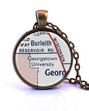 Georgetown University, Washington DC Map Pendant Necklace - created from a 1956 map.-Small Pendant-Paper Towns Vintage