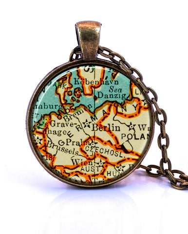 Germany Map Pendant Necklace - created from a 1937 map.-Small Pendant-Paper Towns Vintage