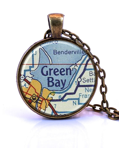 Green Bay, Wisconsin Map Pendant Necklace - created from a 1956 map.-Small Pendant-Paper Towns Vintage