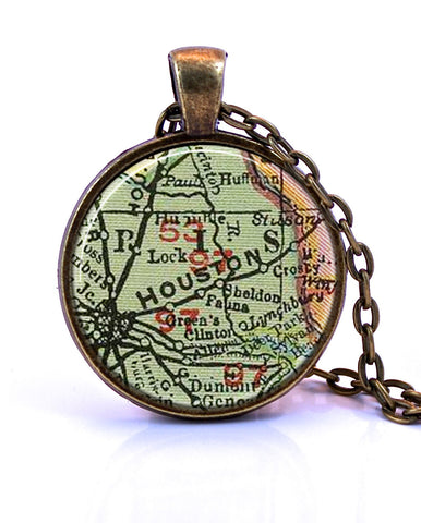 Houston, Texas Map Pendant Necklace - created from a 1903 map.-Small Pendant-Paper Towns Vintage