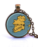 Ireland Map Pendant Necklace - created from a 1938 map.-Small Pendant-Paper Towns Vintage