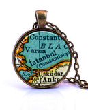Istanbul, Turkey Map Pendant Necklace - created from a 1937 map.-Small Pendant-Paper Towns Vintage