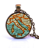 Italy Map Pendant Necklace - created from a 1937 map.-Small Pendant-Paper Towns Vintage