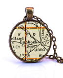 Lubbock, Texas Map Pendant Necklace - created from a 1937 map.-Small Pendant-Paper Towns Vintage