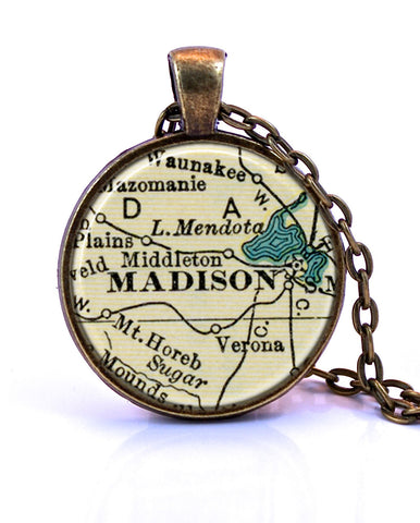 Madison, Wisconsin Map Pendant Necklace - created from a 1937 map.-Small Pendant-Paper Towns Vintage