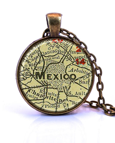 Mexico City, Mexico Map Pendant Necklace - created from a 1903 map.-Small Pendant-Paper Towns Vintage
