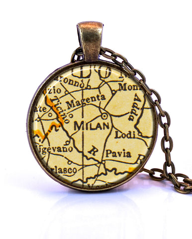 Milan, Italy Map Pendant Necklace - created from a 1937 map.-Small Pendant-Paper Towns Vintage