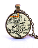 Missoula, Montana Map Pendant Necklace - created from a 1937 map.-Small Pendant-Paper Towns Vintage