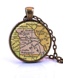 Missouri Map Pendant Necklace - created from a 1934 map.-Small Pendant-Paper Towns Vintage