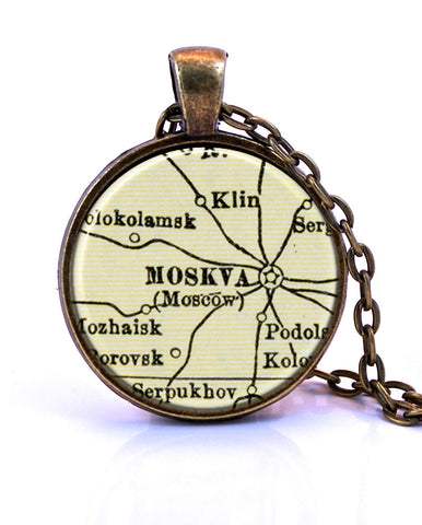 Moscow, Russia Map Pendant Necklace - created from a 1937 map.-Small Pendant-Paper Towns Vintage