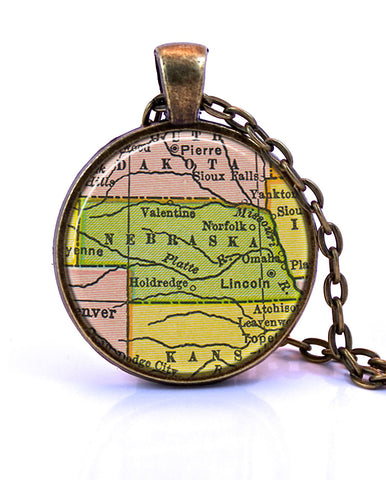 Nebraska Map Pendant Necklace - created from a 1934 map.-Small Pendant-Paper Towns Vintage
