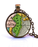 New Jersey Map Pendant Necklace - created from a 1906 map.-Small Pendant-Paper Towns Vintage