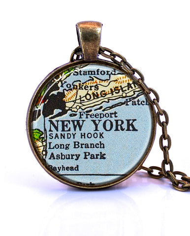 New York City, New York Map Pendant Necklace - created from a 1958 map.-Small Pendant-Paper Towns Vintage