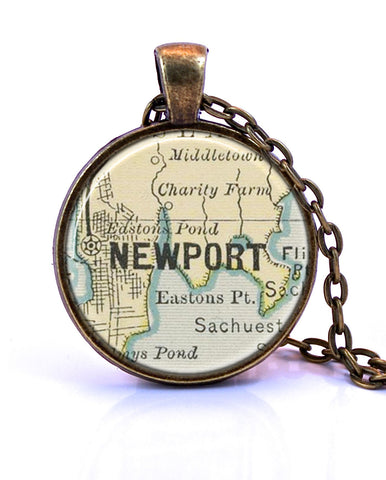 Newport, Rhode Island Map Pendant Necklace - created from an 1891 map.-Small Pendant-Paper Towns Vintage