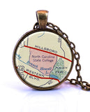 North Carolina State College, North Carolina Map Pendant Necklace - created from a 1956 map.-Small Pendant-Paper Towns Vintage