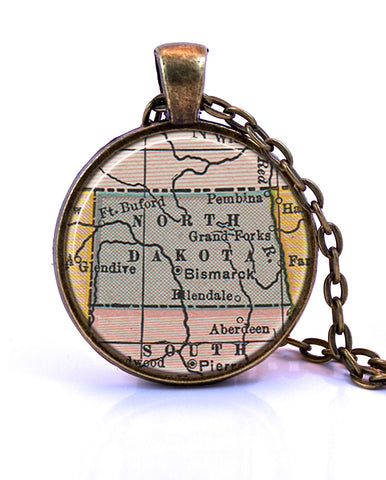 North Dakota Map Pendant Necklace - created from a 1934 map.-Small Pendant-Paper Towns Vintage