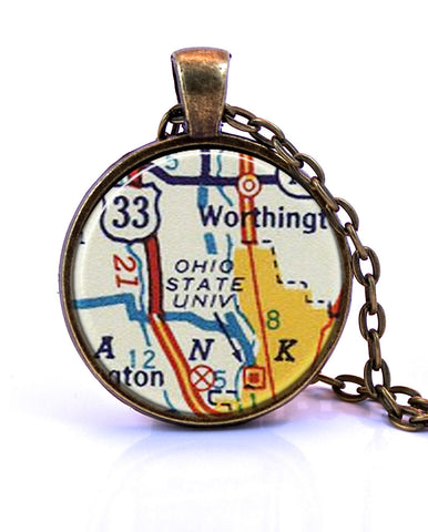 Ohio State University, Ohio Map Pendant Necklace - created from a 1956 map.-Small Pendant-Paper Towns Vintage