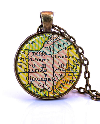 Ohio Map Pendant Necklace - created from a 1934 map.-Small Pendant-Paper Towns Vintage