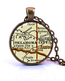 Oklahoma City, Oklahoma Map Pendant Necklace - created from a 1937 map.-Small Pendant-Paper Towns Vintage