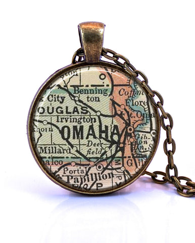 Omaha, Nebraska Map Pendant Necklace - created from an 1891 map.-Small Pendant-Paper Towns Vintage