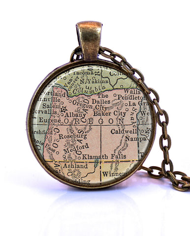 Oregon Map Pendant Necklace - created from a 1934 map.-Small Pendant-Paper Towns Vintage