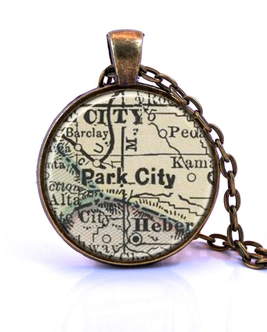 Park City, Utah Map Pendant Necklace - created from an 1891 map.-Small Pendant-Paper Towns Vintage