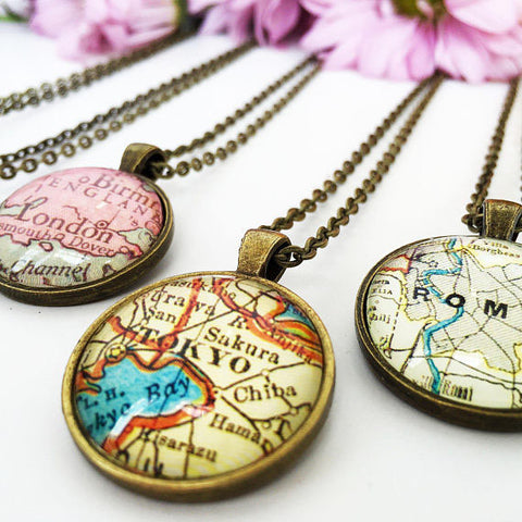 Custom Location Map Pendant Necklace