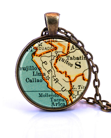 Peru Map Pendant Necklace - created from a 1937 map.-Small Pendant-Paper Towns Vintage