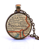 Philadelphia, Pennsylvania Map Pendant Necklace - created from a 1937 map.-Small Pendant-Paper Towns Vintage