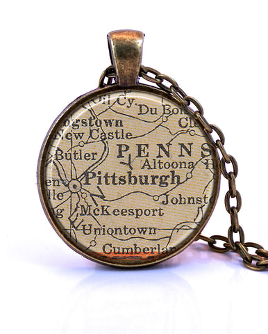 Pittsburgh, Pennsylvania Map Pendant Necklace - created from a 1937 map.-Small Pendant-Paper Towns Vintage
