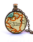 Poland Map Pendant Necklace - created from a 1937 map.-Small Pendant-Paper Towns Vintage